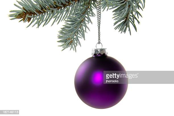 パープルのクリスマスボール飾り