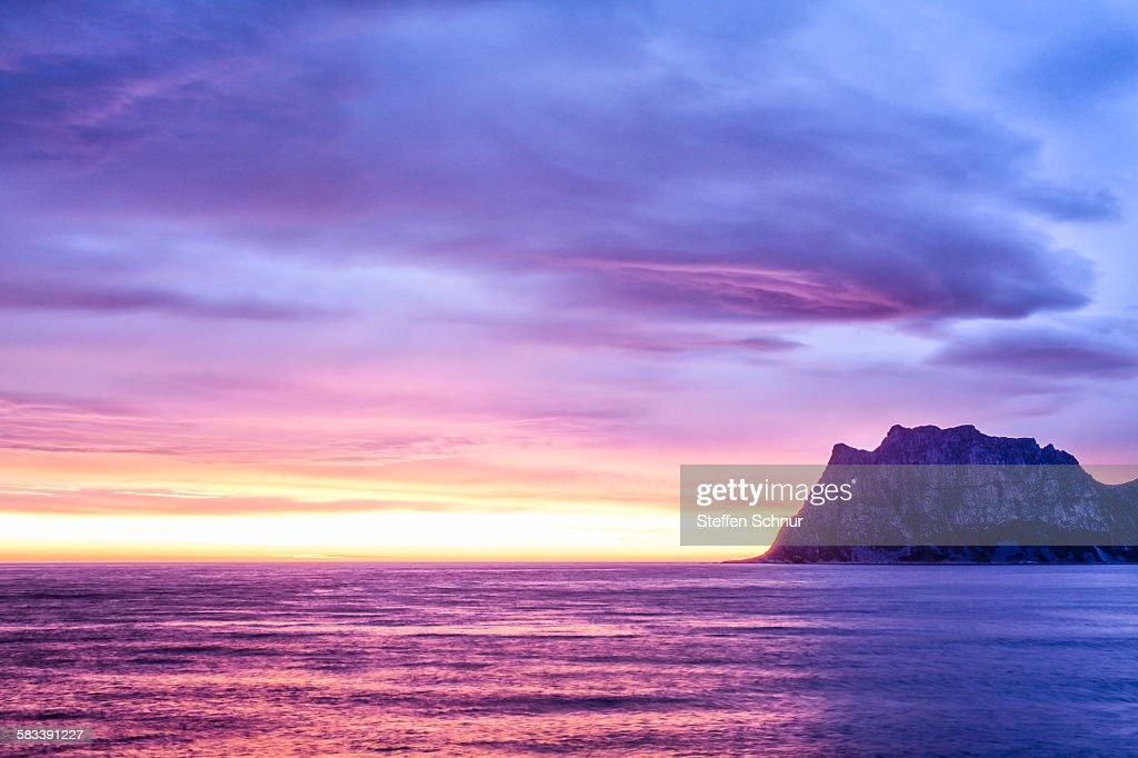 Purple clouds at night Norway Lofoten nature : Stock Photo