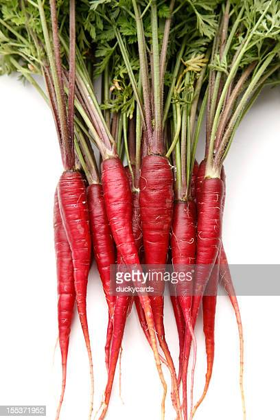 Purple Dragon Carrots on White Background