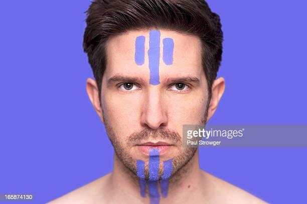 Purple Facepaint on Purple Background