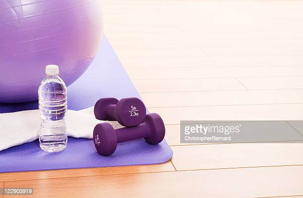 purple fitness ball - mat stock pictures, royalty-free photos & images