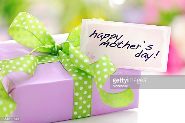 Purple gift box with a mothers day card