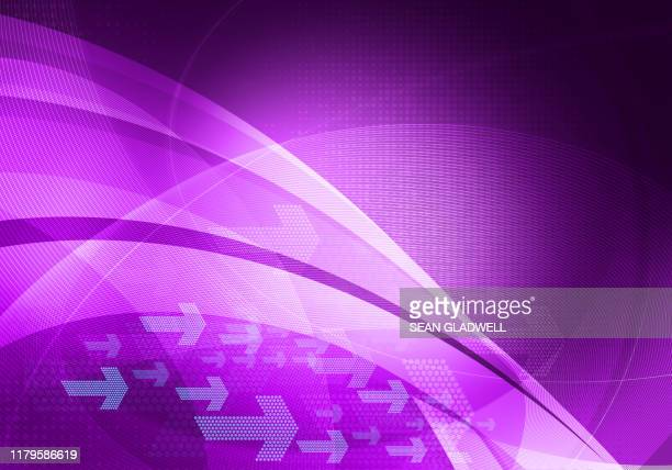 purple graphic arrows background - website template stock photos and pictures