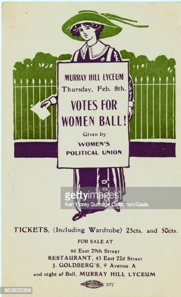 Purple green and white card depicting a woman wearing Edwardian clothing and a placard advertising the 'Votes For Women Ball' at Murray Hill Lyceum...