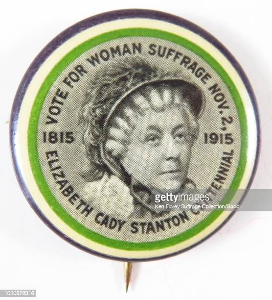 Purple green and white suffrage pin with an image of Elizabeth Cady Stanton at the center ringed by the words Votes for Woman Suffrage Nov 2...