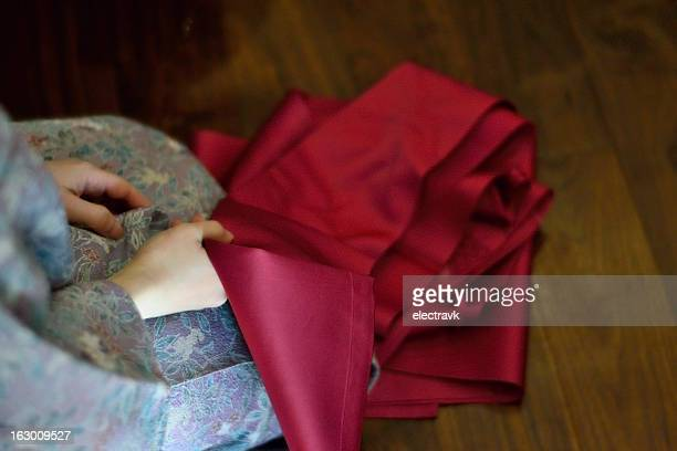Purple kimono, scarlet red obi