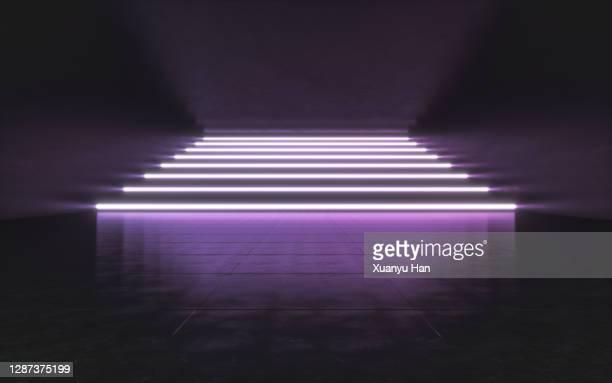 purple led light indoor abstract background - stage performance space stock-fotos und bilder