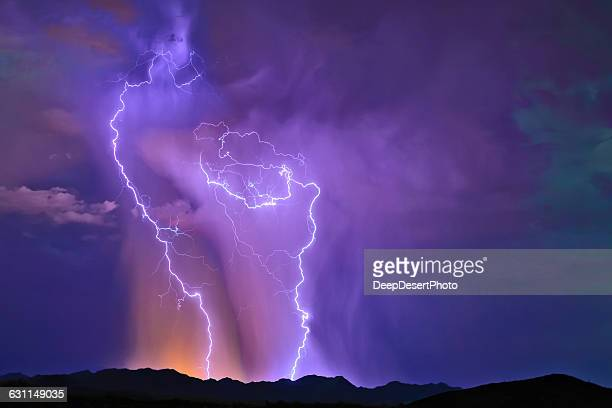 Purple lightning, Buckeye Foothills, Arlington, Arizona, America, USA