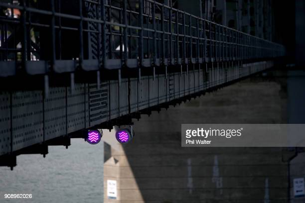 Purple lights are pictured that will light up the Auckland Harbour Bridge on January 23 2018 in Auckland New Zealand Launching on 27 January Vector...