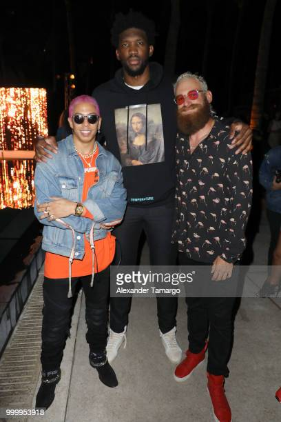 Purple Miami Joel Embiid and Matt Werner attend the 2018 Sports Illustrated Swimsuit show at PARAISO during Miami Swim Week at The W Hotel South...