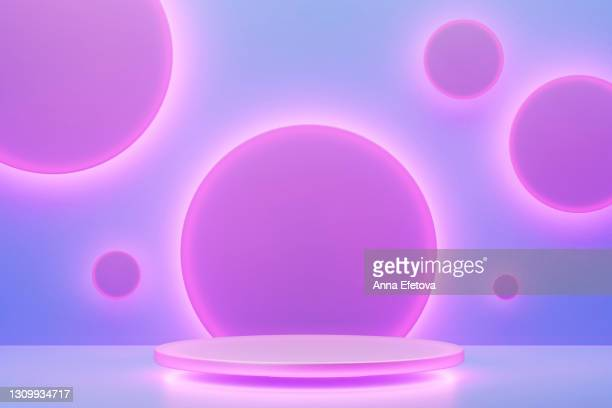 purple podium with white neon lights and many abstract circles on pastel blue background. three dimensional. trendy colors and style of the year - headquarters stock pictures, royalty-free photos & images