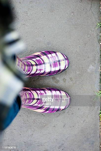 purple rain boots from above - purple rain stock pictures, royalty-free photos & images