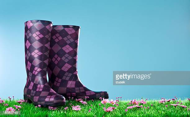 Purple rubber boots