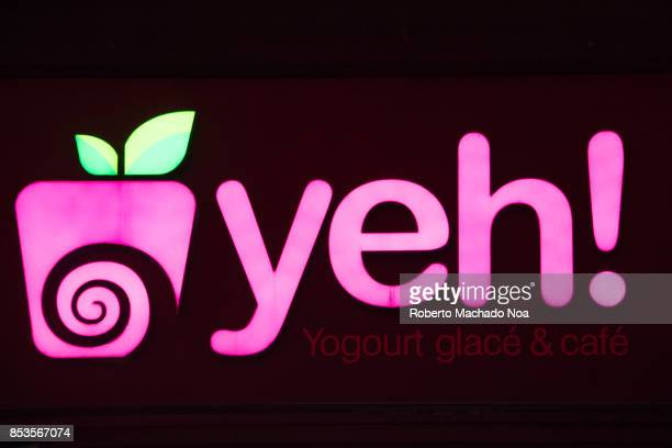 Purple signage of Yeh yogurt Yeh Yogurt Cafe is Canadas first selfserve frozen yogurt concept