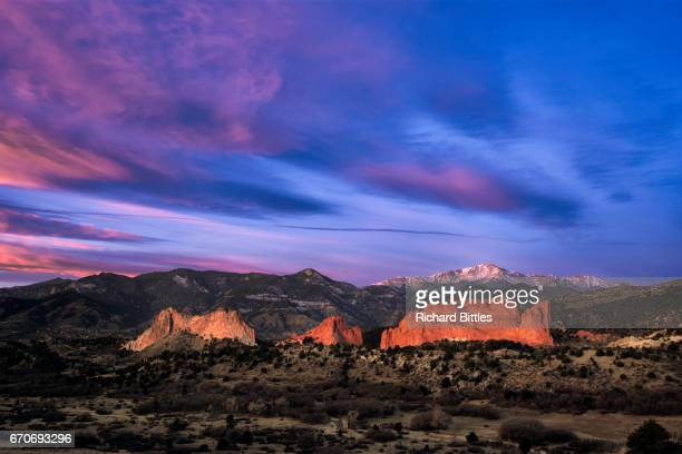 purple sky - garden of the gods stock photos and pictures