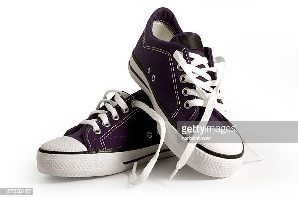 Púrpura Zapatillas con trazado de recorte