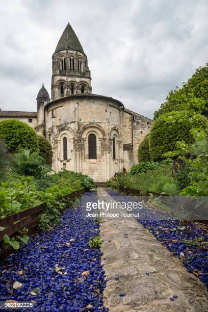 Purple Stones alley in the Abbey of Sainte-Marie-des-Dames in Saintes, France