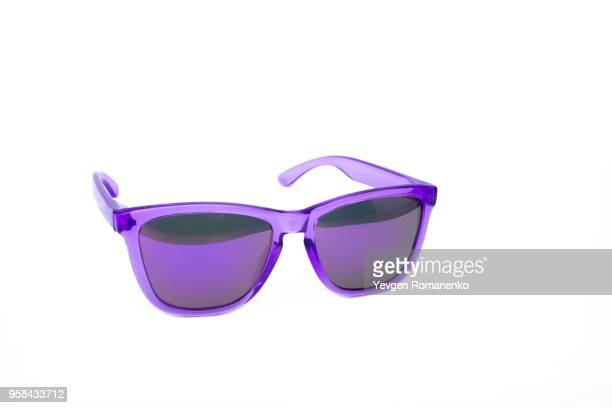 purple sunglasses isolated on white background - sunglasses stock pictures, royalty-free photos & images