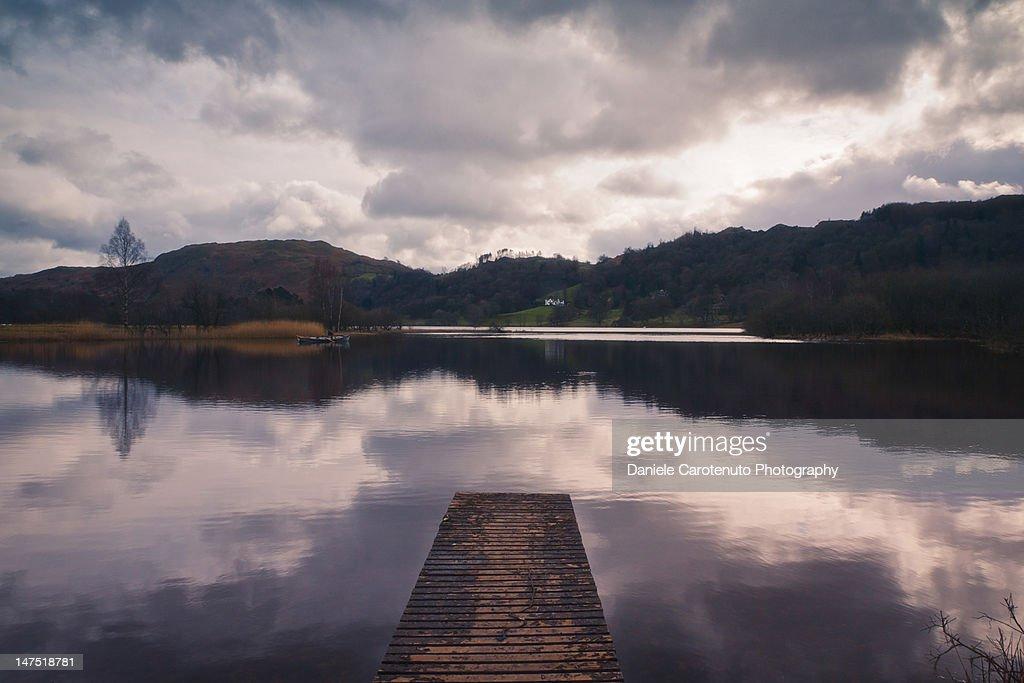 Purple sunset at lake : Stock Photo