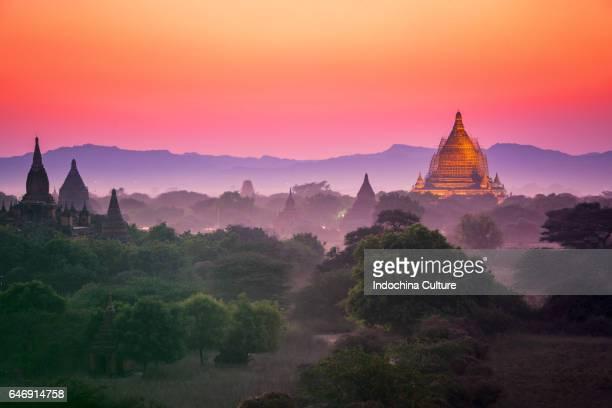 Purple sunset fall at Bagan, Myanmar, skyline Myanmar