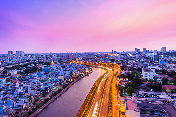 Purple Sunset Of Ho Chi Minh City, Vietnam Wall Art