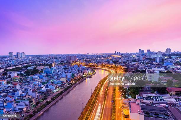 Purple sunset of Ho Chi Minh city, Vietnam