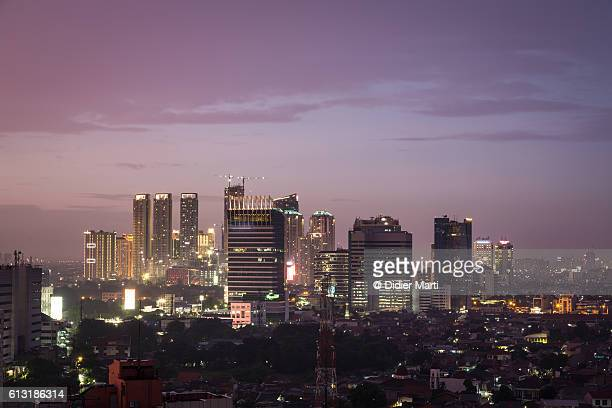 Purple sunset over Jakarta business district