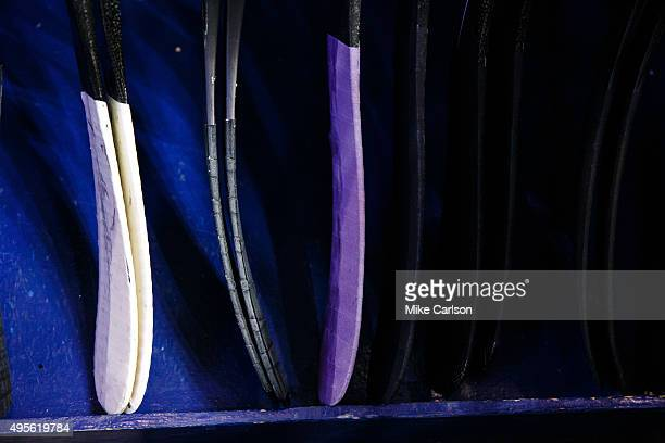Purple tape on the sticks of the Tampa Bay Lightning for Hockey Fights Cancer night against the Colorado Avalanche at the Amalie Arena on October 29...
