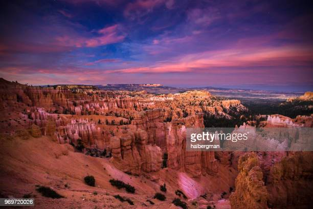 Purple Twilight with Stars Appearing Over Bryce Canyon National Park