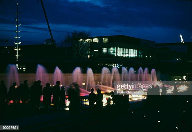Purplelit fountains at the Festival of Britain on London's South Bank 1951