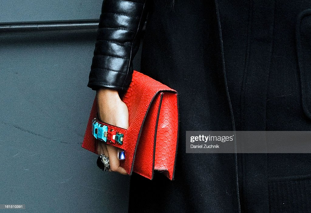 Purse details outside the Donna Karan show on February 11, 2013 in New York City.