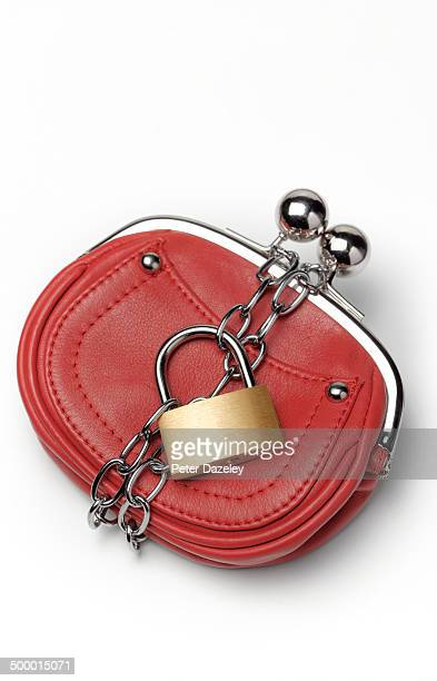 purse with chain and padlock - red purse stock pictures, royalty-free photos & images