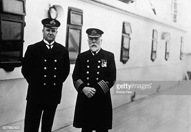 Purser Hugh Walter McElroy and Captain Edward J Smith aboard the Titanic during the run from Southampton to Queenstown England The man who took the...