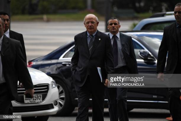 Purtuguese Minister of Foreign Business Augusto Santos Silva arrives for a meeting on Venezuela in Montevideo on February 7 2019 An international...