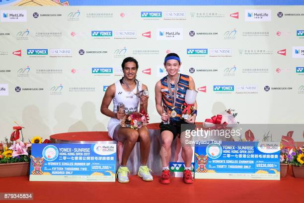 Pusarla V Sindhu of India and Tai Tzu Ying of Taiwan pose for a photo after the Women's Singles Final at Yonex Sunrise Hong Kong Open 2017 on...