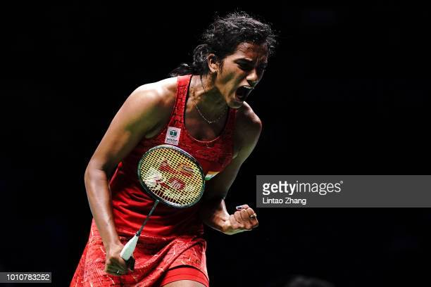 Pusarla V. Sindhu of India celebrate after defeating Akane Yamaguchi of Japan in their Women's Singles Semifinals match during the Badminton World...