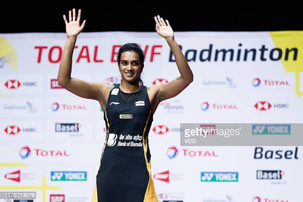 Pusarla V Sindhu of India celebrates after the Women's Singles final match against Nozomi Okuhara of Japan during day seven of Total BWF World...