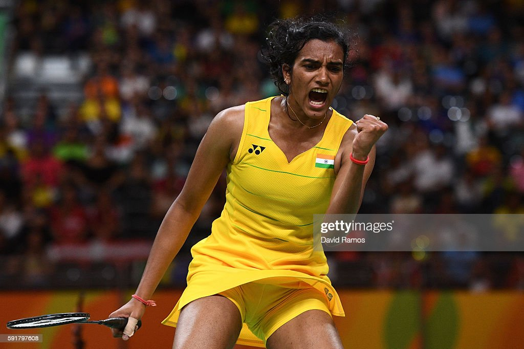 Pusarla V Sindhu of India celebrates winning a point during the Women's Badminton Singles Semi-final against Nozomi Okuhara of Japan on Day 13 of the Rio 2016 Olympic Games at Riocentro - Pavilion 4 on August 18, 2016 in Rio de Janeiro, Brazil.