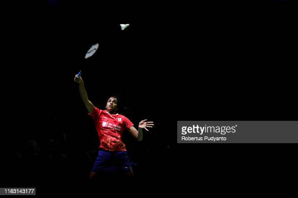 Pusarla V. Sindhu of India competes against Chen Yu Fei of China during the semi-final match on day five of the Bli Bli Indonesia Open at Istora...