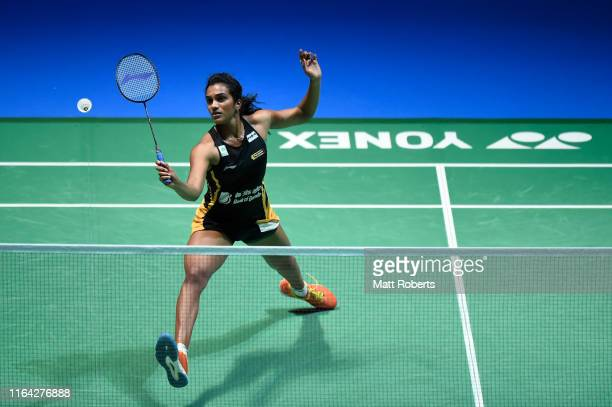 Pusarla V. Sindhu of India competes in the Women's Singles Quarterfinal match against Akane Yamaguchi of Japan on day four of the Daihatsu Yonex...