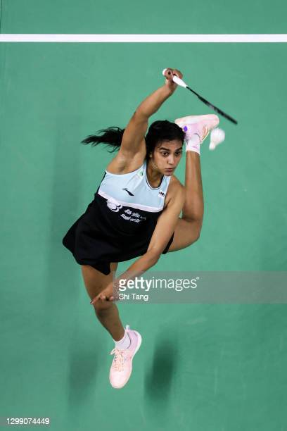 Pusarla V. Sindhu of India competes in the Women's Singles round robin match against Ratchanok Intanon of Thailand on day two of the HSBC BWF World...