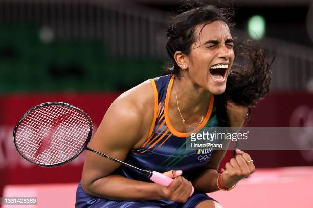 Pusarla V. Sindhu of Team India celebrates after her victory against Akane Yamaguchi of Team Japan during a Women's Singles Quarterfinal match on day...