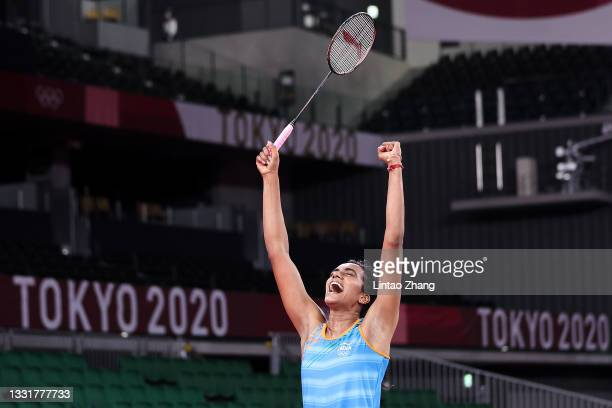 Pusarla V. Sindhu of Team India celebrates as she wins against He Bing Jiao of Team China during the Women's Singles Bronze Medal match on day nine...