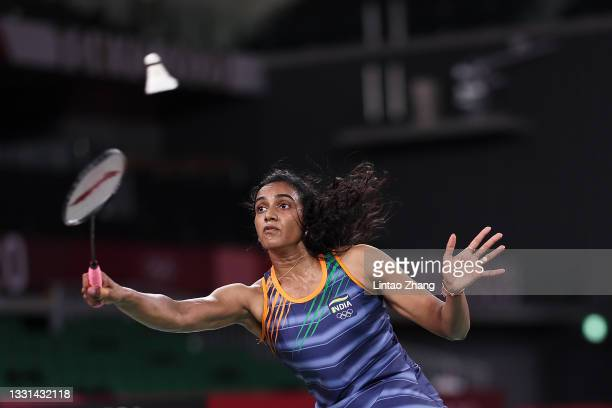 Pusarla V. Sindhu of Team India competes against Akane Yamaguchi of Team Japan during a Women's Singles Quarterfinal match on day seven of the Tokyo...