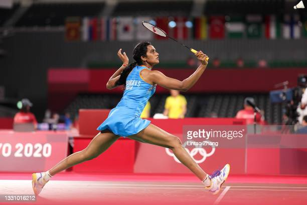 Pusarla V. Sindhu of Team India competes against Cheung Ngan Yi of Team Hong Kong China during a Women's Singles Group J match on day five of the...