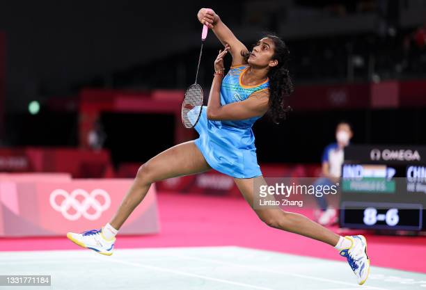 Pusarla V. Sindhu of Team India competes against He Bing Jiao of Team China during the Women's Singles Bronze Medal match on day nine of the Tokyo...