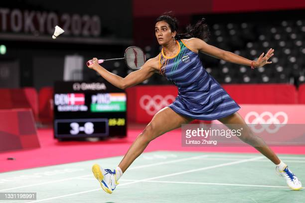 Pusarla V. Sindhu of Team India competes against Mia Blichfeldt of Team Denmark during a Women's Singles Round of 16 match on day six of the Tokyo...