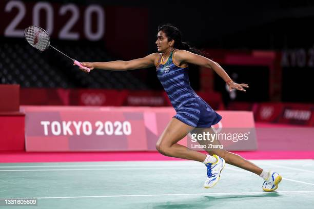 Pusarla V. Sindhu of Team India competes against Tai Tzu-ying of Team Chinese Taipei during a Women's Singles Semi-final match on day eight of the...