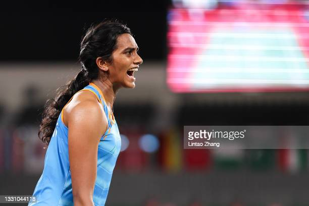 Pusarla V. Sindhu of Team India reacts as she competes against Cheung Ngan Yi of Team Hong Kong China during a Women's Singles Group J match on day...