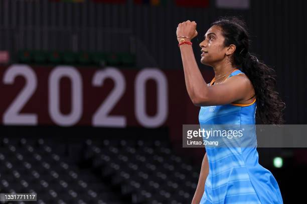 Pusarla V. Sindhu of Team India reacts as she competes against He Bing Jiao of Team China during the Women's Singles Bronze Medal match on day nine...